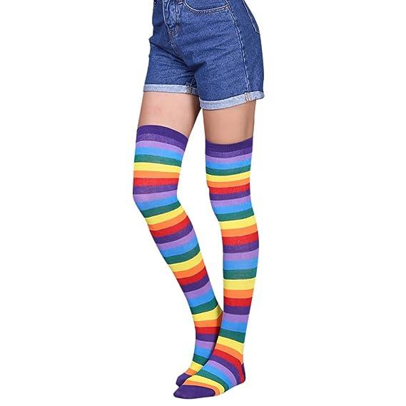 DOGZI Mujer Raya Calcetines altos Medias Tubo alto Calcetines encima de la rodilla Calcetines Muslo Largo Algodón Calentar Medias calcetines ...