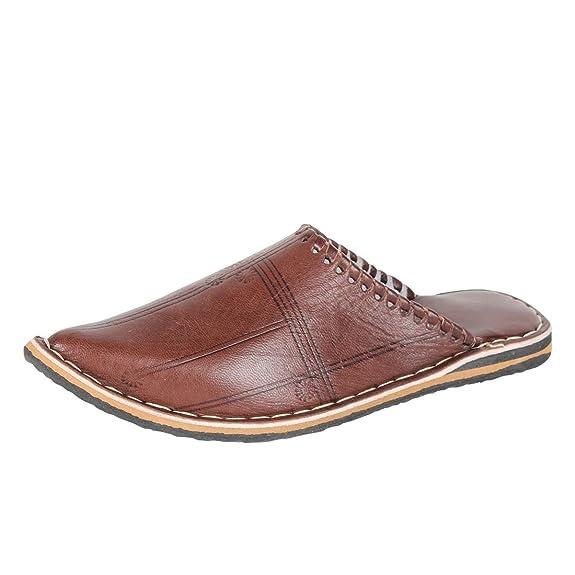 albena Marokko Galerie Unisex Marokkanische Schuhe Leder Pantoffel Aladin (46, Natur)