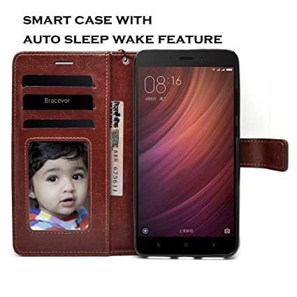 premium selection 8b292 77ee9 Bracevor Auto Sleep Wake Leather Flip Cover Case for Redmi Note 4  (Executive Brown)