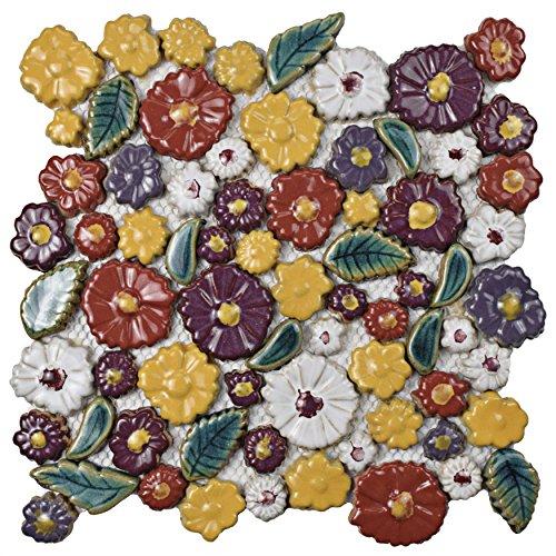 SomerTile WDXBQPR Floral Perennial Ceramic Mosaic Wall Tile, 11.75