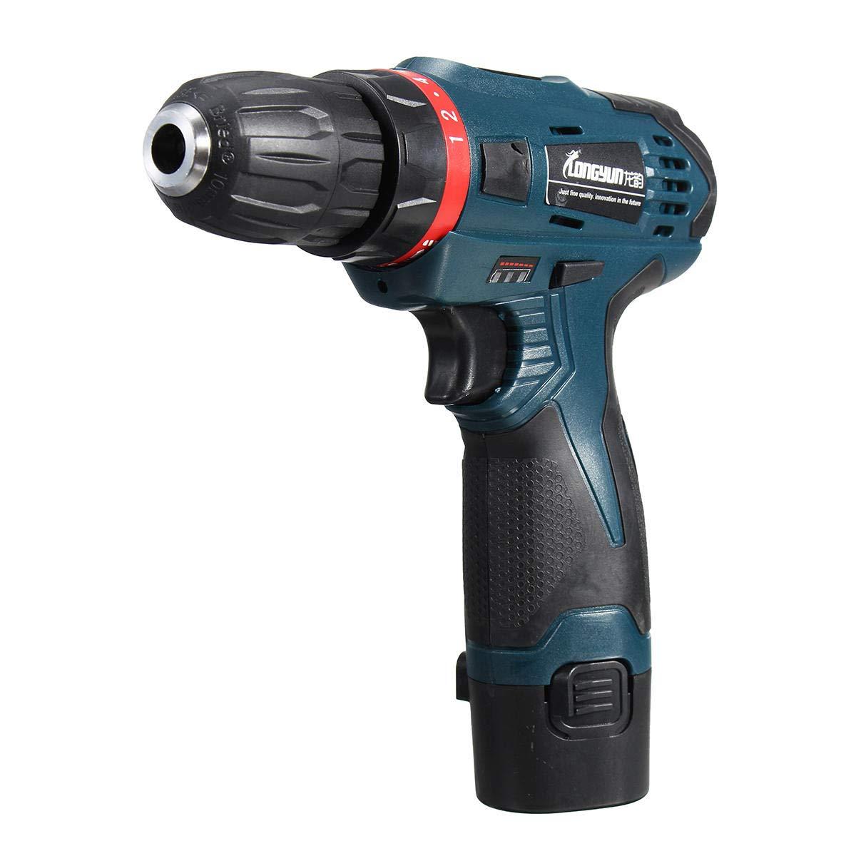 12V Li-Ion Cordless Electric Hammer Drill Driver Hand Kit 1 Speed LED Light