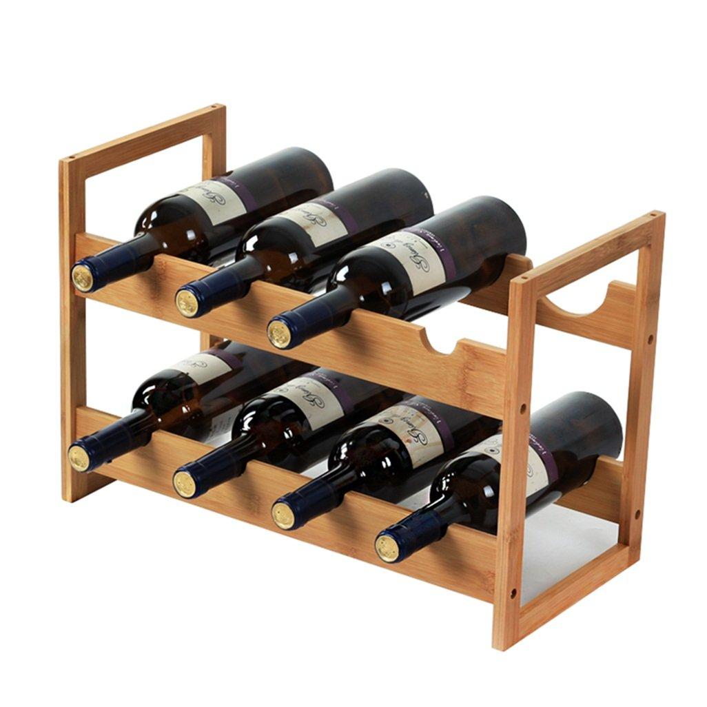 J-ワインホルダー 独立したワインボトル竹バレル8ボトルワインラックスタンド竹キャビネットビンテージスタイルボトルホルダー収納スタンドオーガナイザーカウンタートップデコレーション| Dispalyシェルフの家庭用品実用的でコンパクトなキッチンまたはホームバー47x22x32m B07DLM9WJR