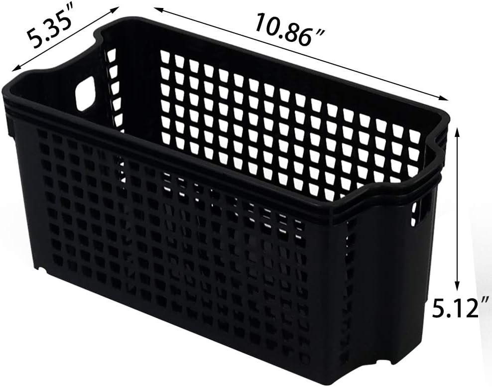 6 Pack Black Storage Baskets Plastic Basket Minekkyes Organizing Baskets Closet