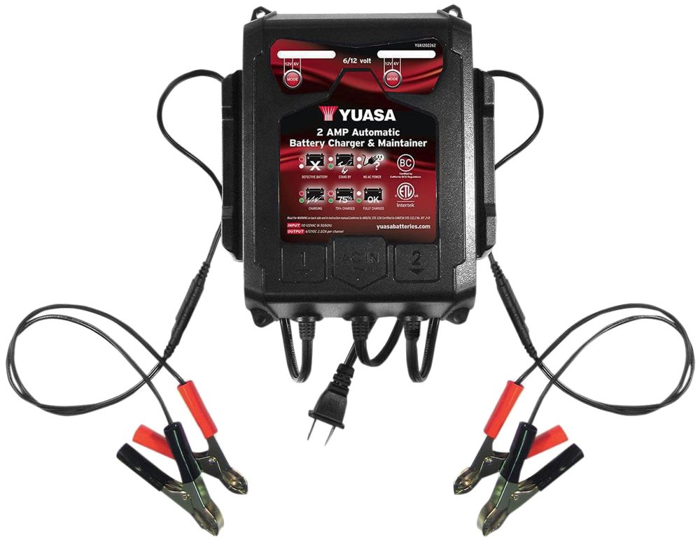 Yuasa YUA1202262 2 Amp Dual-Bank Automatic Battery Charger and Maintainer