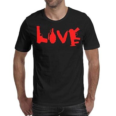 543d2e6b0ee CALM FOX Love Gun Grenade Knife Logo Black Mens T-Shirt Cotton Funny Summer  Short