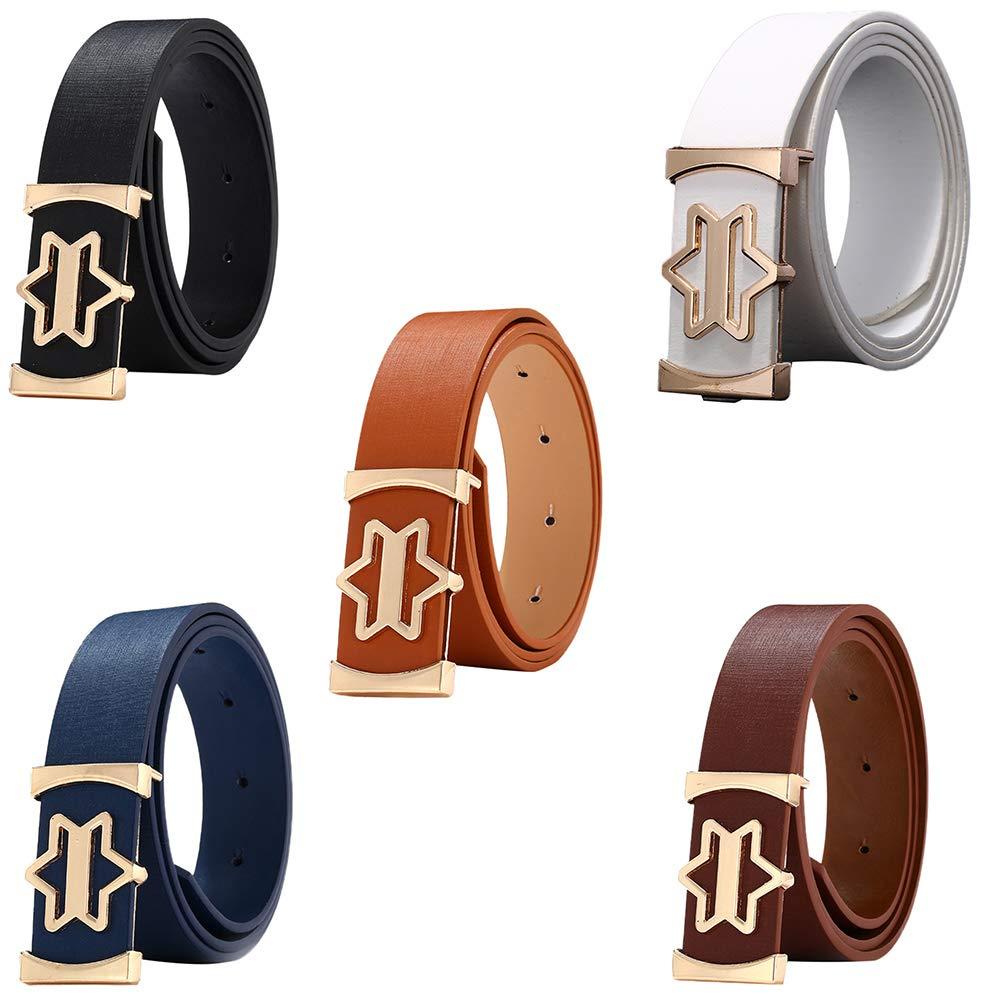 Enjocho Women Belt Fashion Artificial Leather Belts Star Buckle Smooth Belt