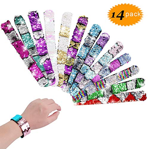 Bestxun 14pcs Slap Bracelets, Reversible Sequin Bracelet, 2-Color Reversible Mermaid Slap Bracelets Decorative Charms Wristband for Kids Christmas Birthday Party Favors Bags Supplies