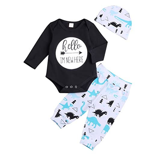 54b2ffa11 Amazon.com  3PCS Newborn Baby Boys Girls Outfits Set Long Sleeve ...
