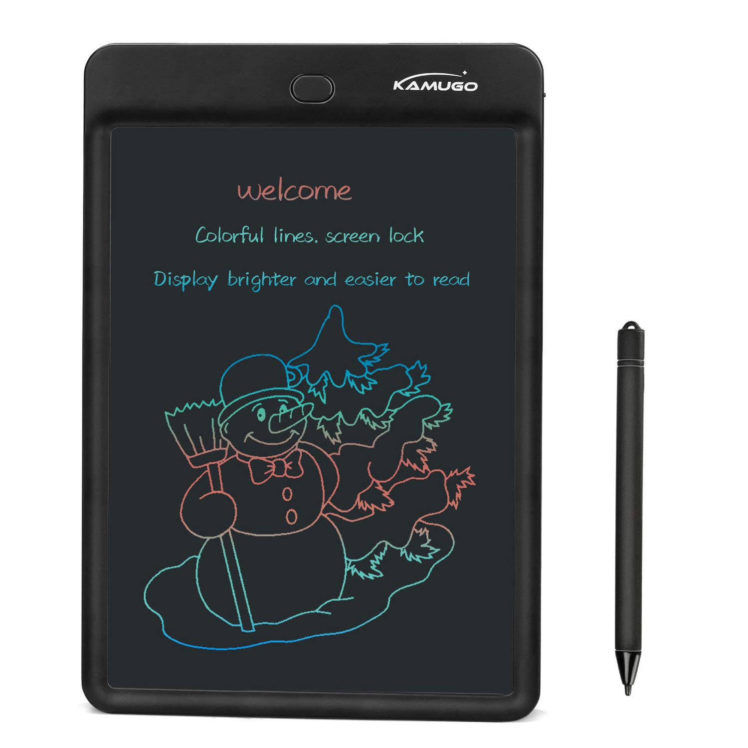 KAMUGO LCD Board Writing Tablet LCD 10 Inch, Graphic Electronic Drawing and Writing Tablet with Screen Lock for Kids and Adults, Ideal for Home, School, Office, Memo, and Notebook, Black