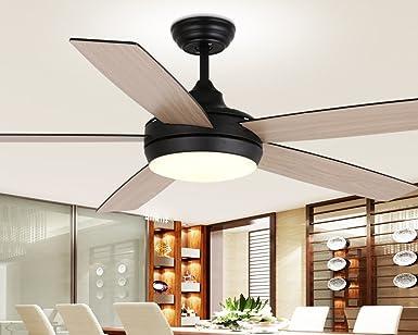 El comedor, lámparas de techo, negro cinco LED lámpara individual ventilador eléctrico lámpara de araña, ventilador simple habitación Restaurante,control de pared: Amazon.es: Iluminación