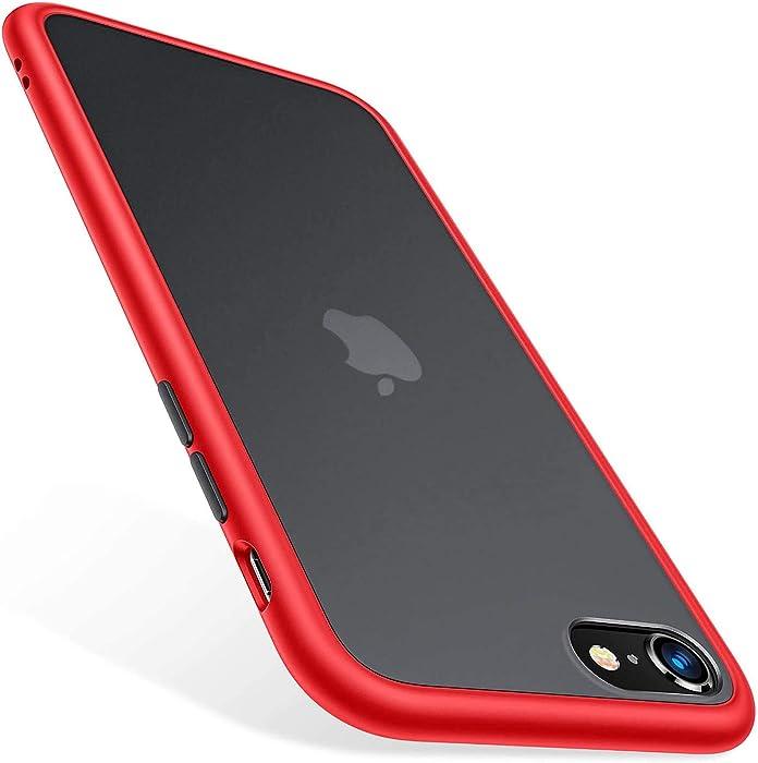 TORRAS Shockproof Designed for iPhone SE 2020 Case & iPhone 8 Case [Military Grade Drop Test] Translucent Matte Hard Back & Soft Bumper Slim for iPhone 7 case & SE 2nd, Red