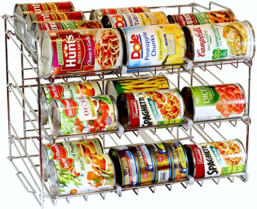 DecoBros Supreme Stackable Can Rack Organizer, Chrome Finish (Canned Food Storage Rack)