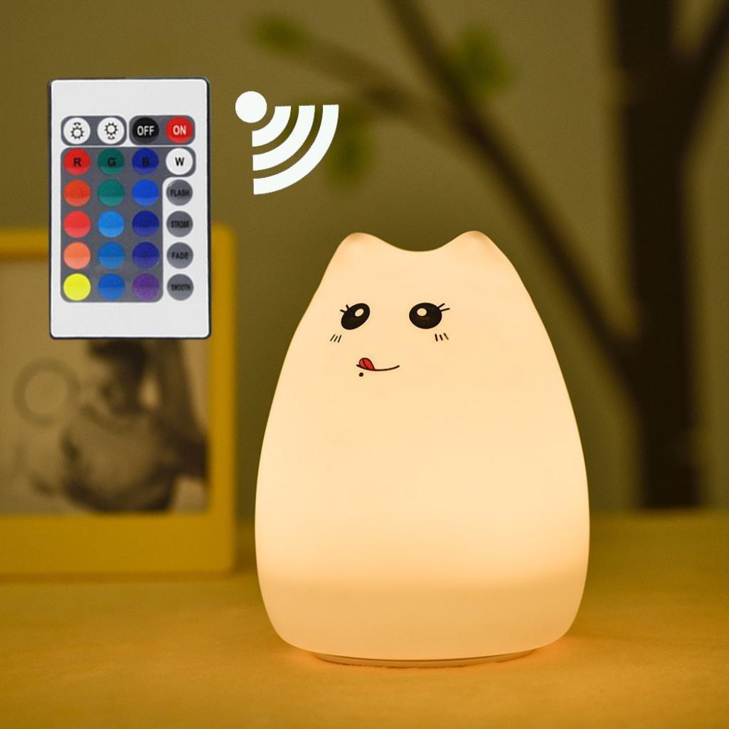 Nightlight、yjydadaかわいいシリコン猫LEDナイトライトクリエイティブUSB再充電ランプ7色変更 B07BLSPXTQ