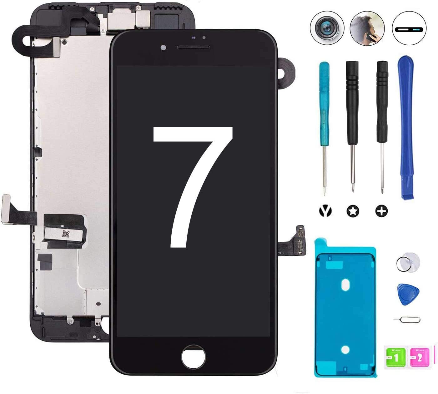 for iPhone 7 Screen Replacement Black LCD Display iPhone 7 Replacement Touch Screen Digitizer Full Assembly with Front Camera+ Earpiece+ Repair Tools Kit+ Waterproof Adhesive Strips (Black)