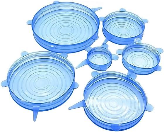 Silicone Stretch Lids Reusable Food Wrap Bowl Pot Lid Silicone Cover 6 Pcs