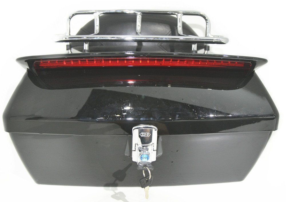 Black Motorcycle Trunk Tail Box Luggage Universal w/ Top Rack&Backrest&TailLight by EGO BIKE