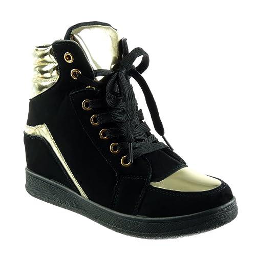 Angkorly - Scarpe da Moda Sneaker Zeppa Alti Donna d oro Tacco Zeppa 6 CM e86c582b608