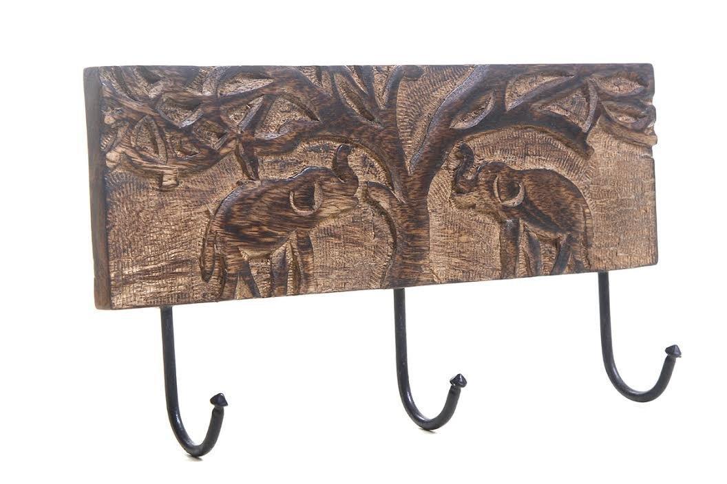 ストアIndya壁フックキーホルダーコートハンガーハンドメイド木製ヴィンテージInspired (ブラウン) B00XHPQC52 ブラウン ブラウン