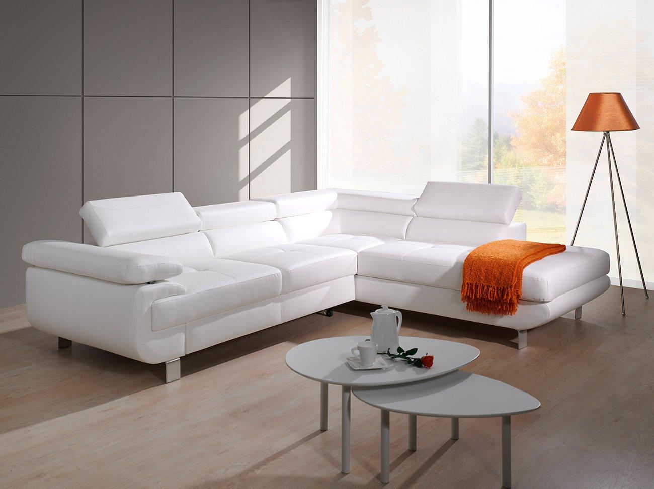 Schlafcouch mit bettkasten weiß  LUCCIA Weiß Schlafsofa, Schlafcouch, kunstleder, Couch ...