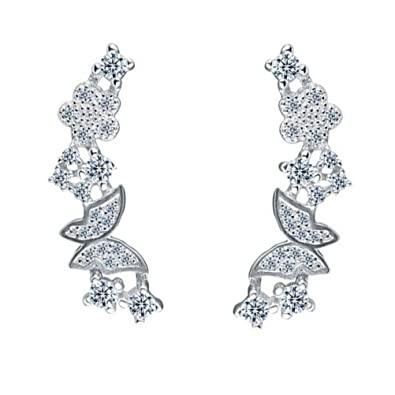 QUKE 925 Sterling Silver Star Shape Cubic Zirconia Rhinestone Crystal Ear Cuff Climber Earring for Girls Women ZUy3F