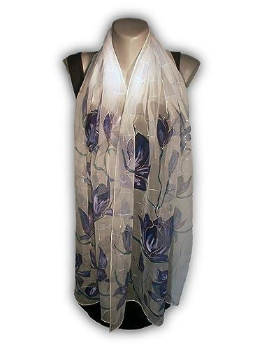 cb080d45fd13 HISTOIRE VIOLETTE Foulard peint à la main, 100% soie naturelle, écharpe  peinte à