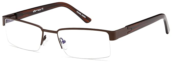 f9981720f46 Mens Semi Rimless Glasses Frames Brown Prescription Eyeglasses Rxable  54-30-140