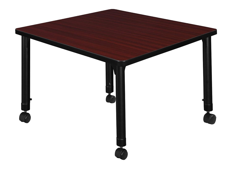 Regency TB4848MHAPCBK Kee Height Adjustable Mobile Square Classroom Table 48 Mahogany