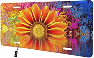 Beabes Sunflower in Water Front License Plate Cover,Abstract Reflection Wave Bright Colorful Floral Nature Decorative License Plates for Car,Novelty Auto Car Tag Vanity Plates for Men Women 6x12 Inch