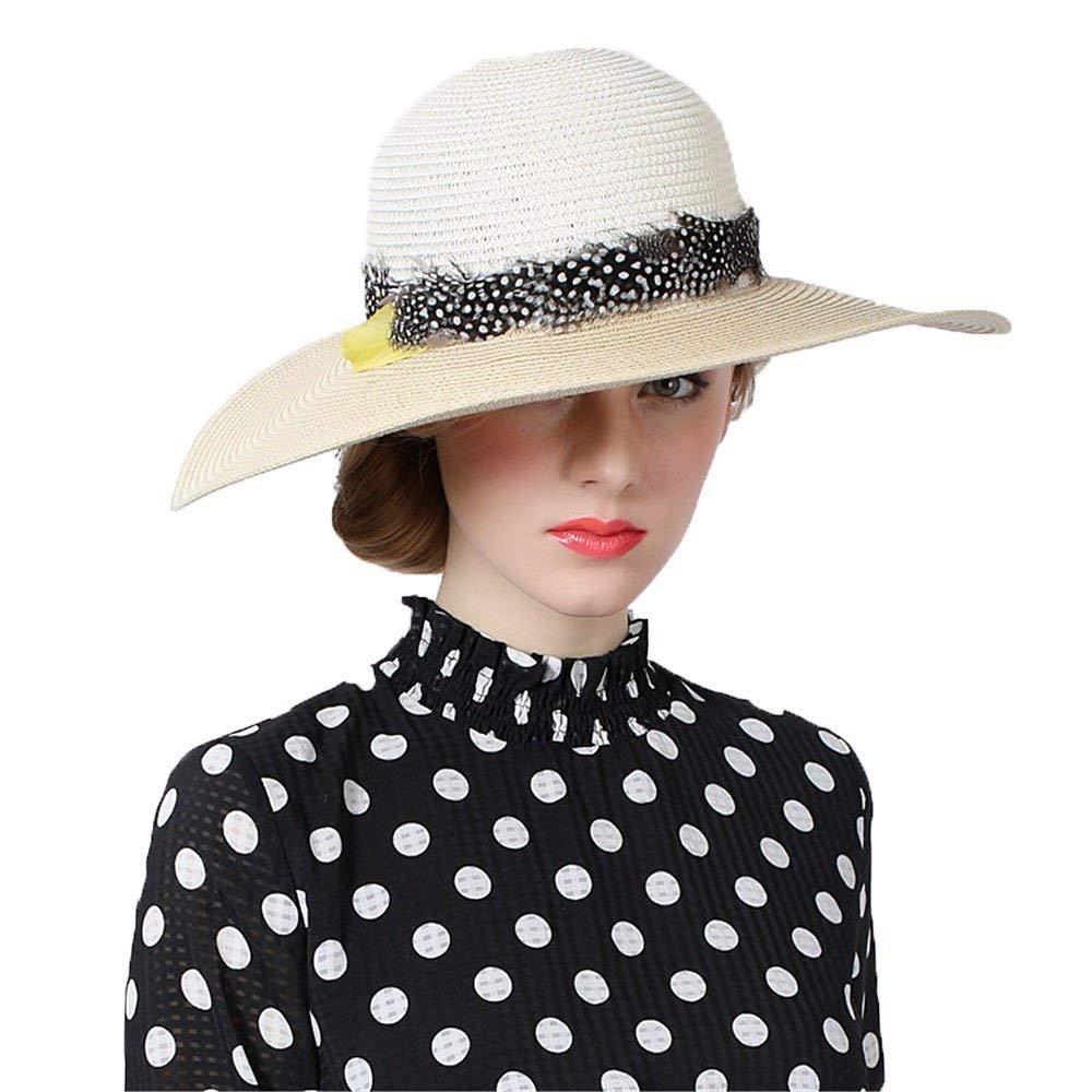 PINGF HOME 純粋な色の羽の装飾的なわらの帽子と屋外の夏の帽子   B07R4RJ72K