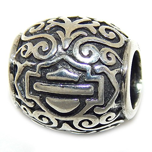 Pro Jewelry 925 Solid Sterling Silver Barrel with Scrolls and Shield and Banner Charm Bead