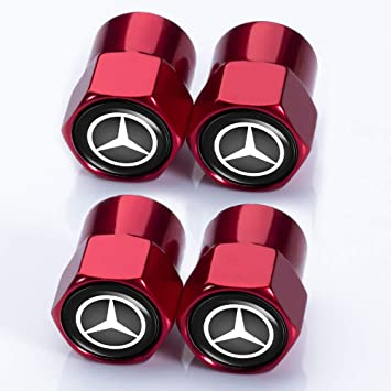PATWAY 5 Pcs Metal Car Wheel Tire Valve Stem Caps for Mercedes Benz C E S M CLS CLK GLK GL A B AMG GLS GLE Logo Styling Decoration Accessories.