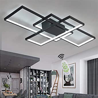 Led Ceiling Lights Living Room Modern Dimmable Ceiling Light Fixture Flush Bedroom Lamp With Remote Control 60w Square Acrylic Design Chandelier For Kitchen Islands Dining Room Lighting Black Amazon Co Uk Lighting