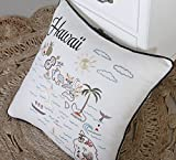 """DecorHouzz Pillow Covers Hawaii State/City Map Pillowcase embroidered cushion cover Birthday Gift Anniversary Gift Graduation Gift New home Gift 18""""x18"""" (Hawaii)"""