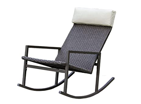 stone harbor outdoor rattan wicker rocking chair rocker with headrest by living express