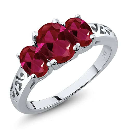 Gem Stone King 2.15 Ct Oval Red Created Ruby 925 Sterling Silver 3-Stone Women s 3 Stone Ring Available 5,6,7,8,9