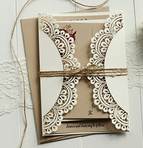 Off White Lace Wedding Invitations Set RSVP Cards Included Rustic Kraft Paper Invitation Cards - Set of 50 pcs (Customized Invitations) by Picky Bride (Image #2)