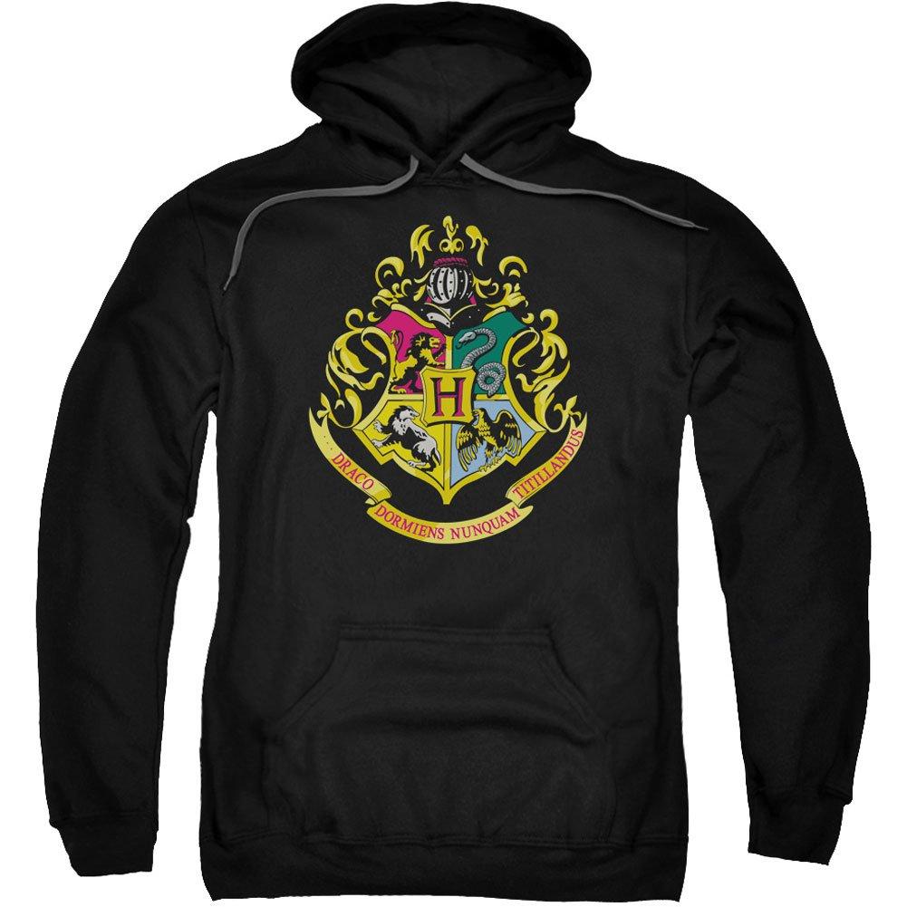 Harry Potter Hogwarts Crest Adult Pull Over Hoodie Black Trevco