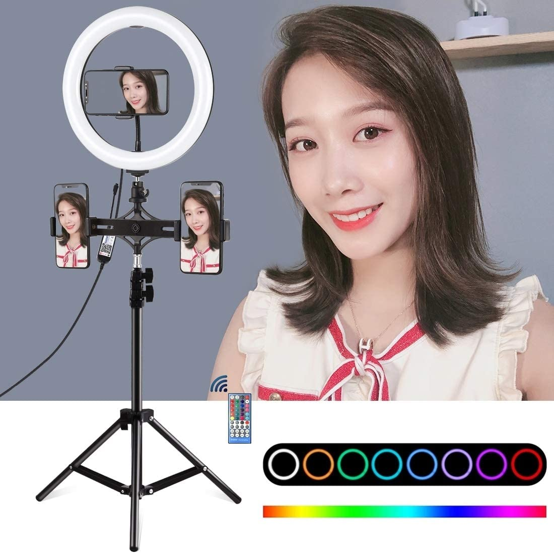 10 inch 26cm Curved Surface RGBW LED Ring Vlogging Video Light Live Broadcast Kits with Remote Control /& Phone Clamp Black Dual Phone Brackets Horizontal Holder HUIFANGBU PU419 Tripod Mount