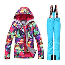 GSOU SNOW New Women Winter Warm Windproof Waterproof Breathable Ski Suit Jacket(colorful cloths with 2XL Blue pants)
