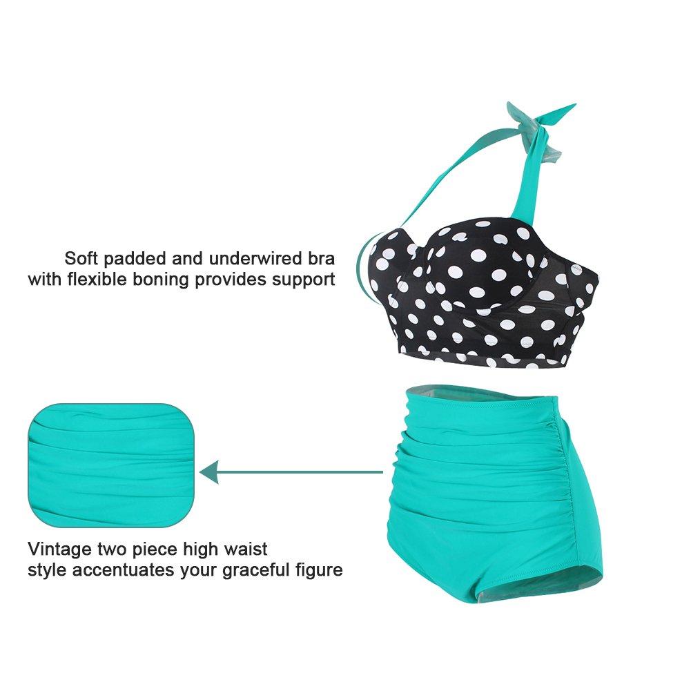 FeelinGirl Retro Halter Neck Polka DOT A Vita Alta Bikini Costumi da Bagno