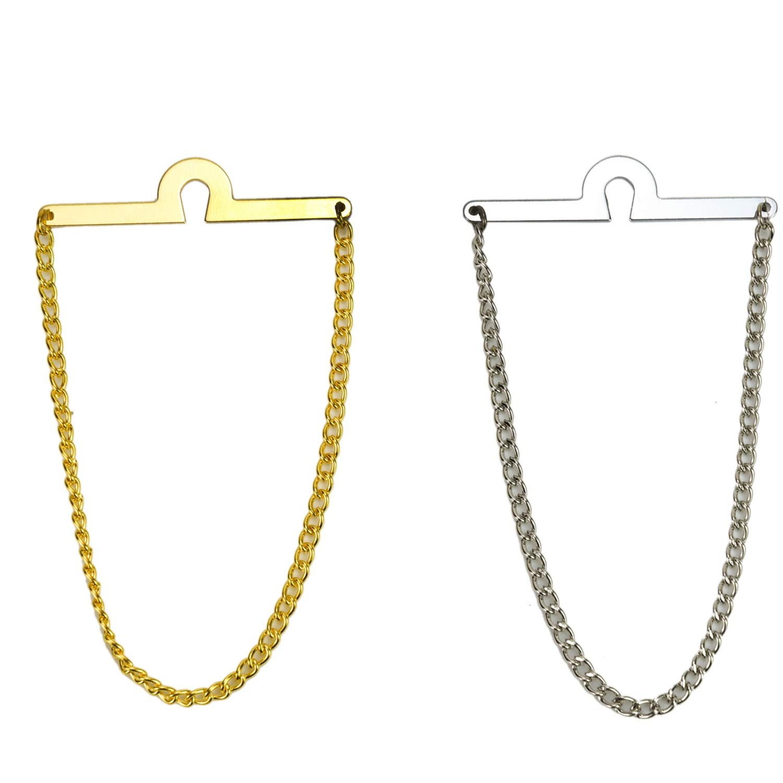 Pomeat - Cadena de corbata para hombre (2 unidades), color dorado ...