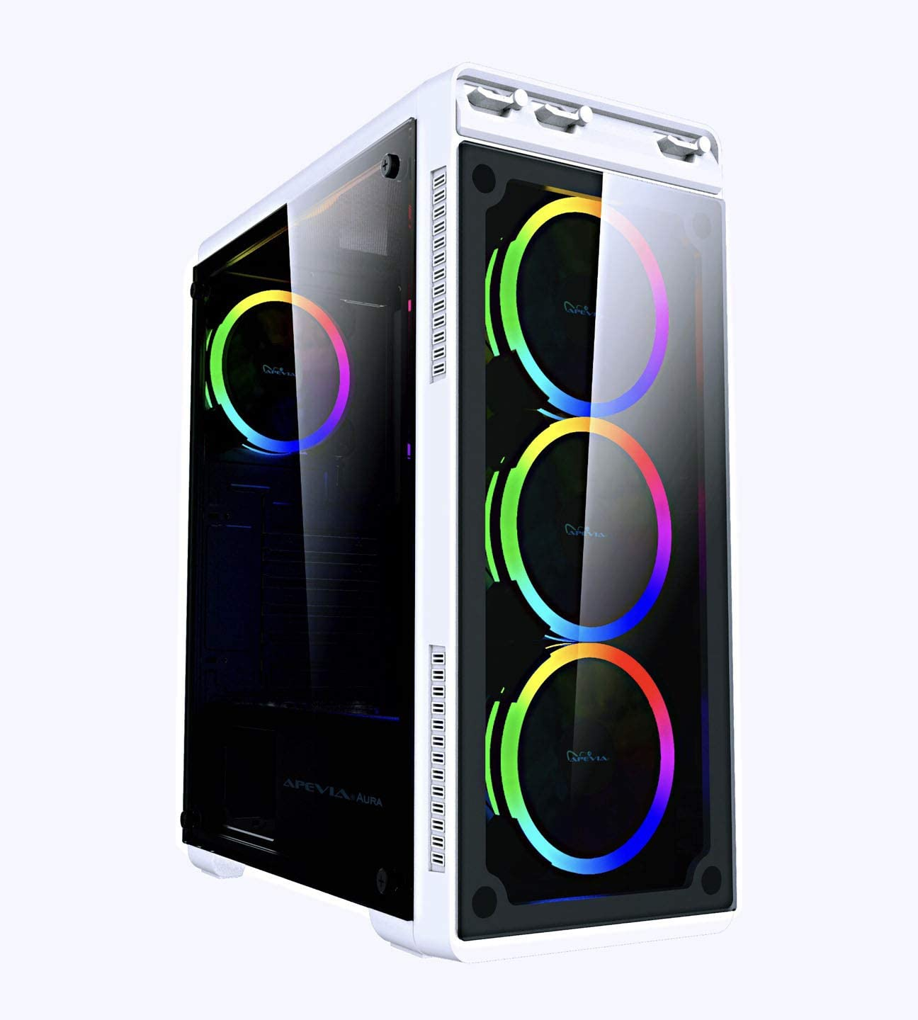 Apevia Aura-S-WH Mid Tower Gaming Case with 2 x Full-Size Tempered Glass Panel, Top USB3.0/USB2.0/Audio Ports, 4 x RGB Fans, White Frame
