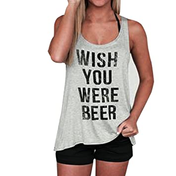 frashing Wish You Were Beer Mujeres Letter Print Sleeveless ...