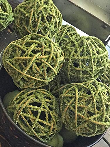 4 Inch Decorative Moss Covered Curly Willow Ball Orb for Home Decor, Vase Bowl Filler, Planters, Trays, Lanterns, Weddings, Farmhouse Rustic Style Table Decoration, Green/Brown, Handmade