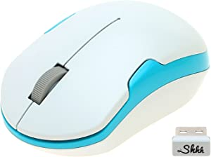 ShhhMouse Wireless Silent Noiseless Clickless Mobile Optical Mouse with USB Receiver and Batteries Included, Portable and Compact, For Notebook, PC, Laptop, Computer, MacBook (White/Turquoise Blue)