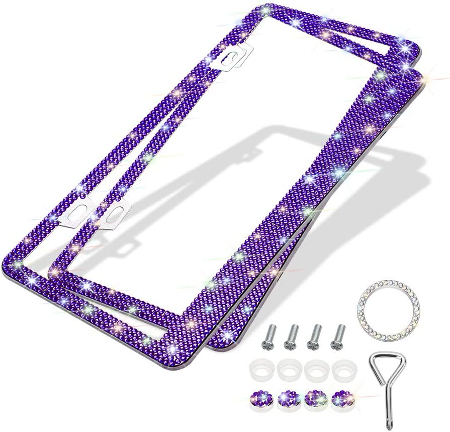 Violet Handcrafted 6 Rows Shiny Rhinestones Stainless Steel 2 Holes License Plate Frame with Anti-Theft Screws Caps Set Otostar 2 Pack Bling License Plate Frames