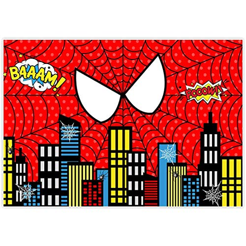Allenjoy 7x5ft Red Superhero Cityscape Theme Backdrop for Photography 1st First Boys Birthday Party Decorations Supplies Baby Shower Family Gathering Background Favors Decor Banner Photo Shoot Props (Moving Party Invitations)