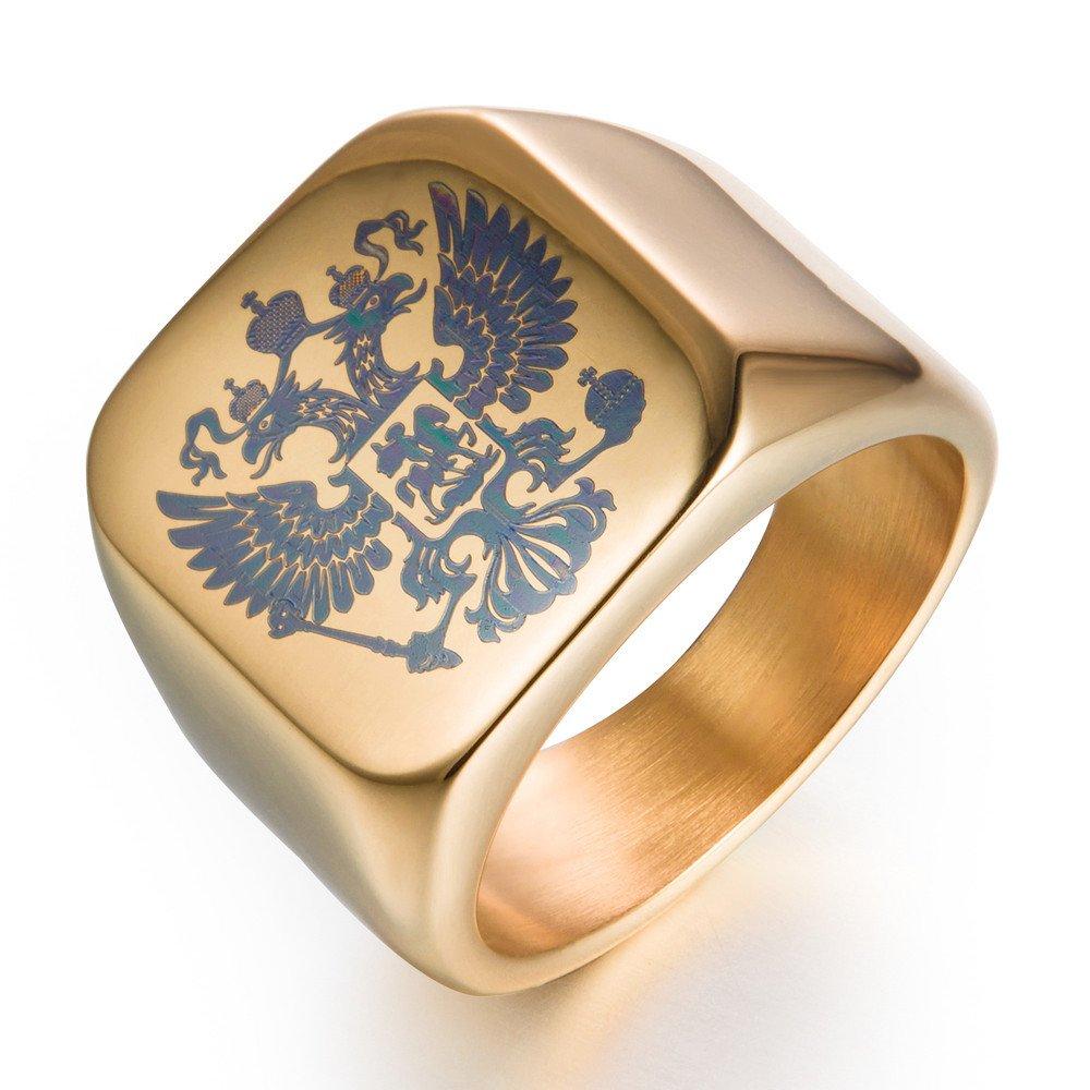 JINSHIYINYU Double tête Imperial Eagle Bague chevalière Blason Empereur Byzantin Fédération de Russie