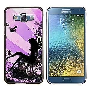 Eason Shop / Premium SLIM PC / Aliminium Casa Carcasa Funda Case Bandera Cover - Lady Butterfly Tinta Mujer - For Samsung Galaxy E7 E700