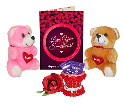 Buy first valentine present a wonderful 3d printed greeting card first valentine present a wonderful 3d printed greeting card gift with teddys chocolates rose with basket m4hsunfo